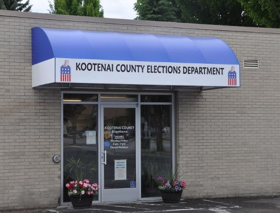 Kootenai County Elections Department building with awning
