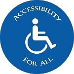 Accessibility for all with stick figure in wheelchair